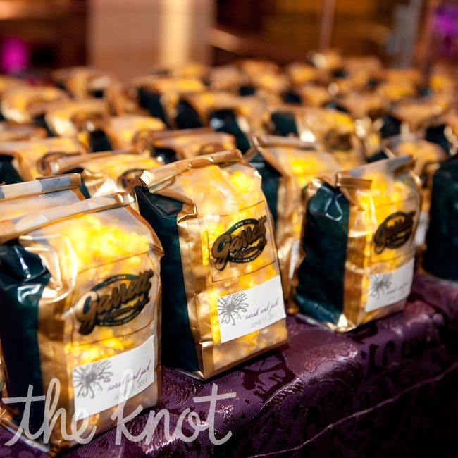 Guests took home bags of Chicago-style (caramel and cheddar) Garrett popcorn.