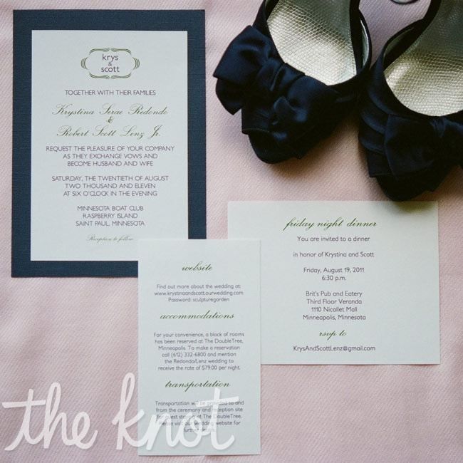 The minimal white invitation set featured simple green and navy fonts and a navy border accent.