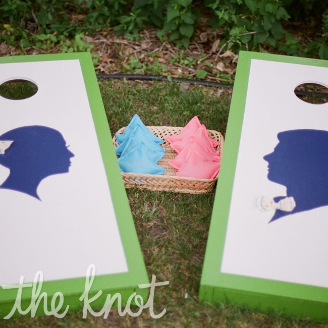 Krystina and Scott's dad made and set up this cornhole toss as a fun party activity for guests.