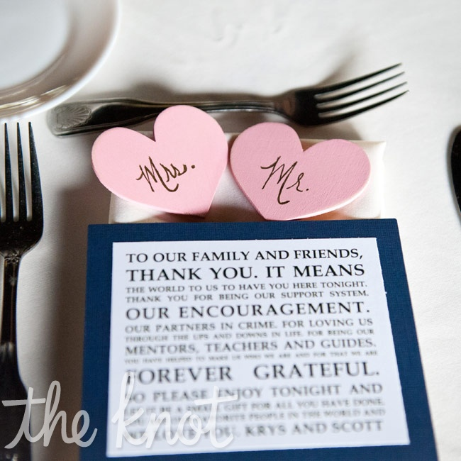 In lieu of menu cards, the couple left a note for guests to express their gratitude.