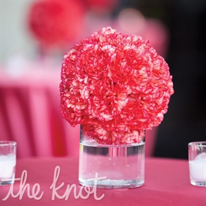 Ball-shaped pink carnation centerpieces marked the tables set up outside on the balcony.