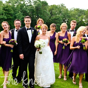 The girls wore purple one-shoulder dresses, which accented the guys&#39; black-and-white attire.