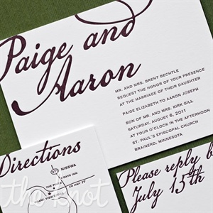 Paige worked with her stationer to create a simple, elegant purple-and-white design, inspired by an invite she saw in a magazine.
