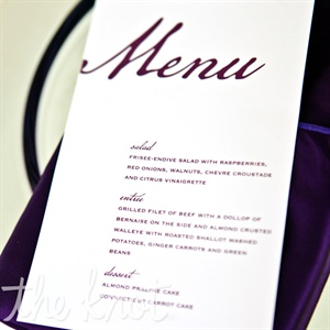 Simple white cards marked with rich purple script listed the three courses of the night.