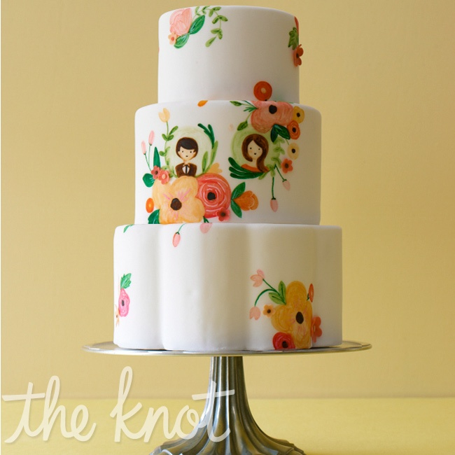 Adding color to your cake can be so much more interesting than covering it with banding or cascading flowers. For a clever take that feels completely fresh, create an illustration. Use the same motif you chose for your invitations. Cake by Sweet & Saucy Shop