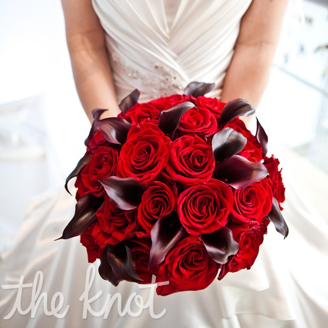 Tammie's bouquet was created from a combination of red roses and red calla lilies.