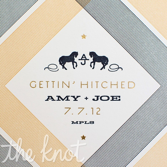 Amy's business partner Amy Steil created these unique save-the-dates, which were letter-pressed and foil-stamped for Amy and Joe.