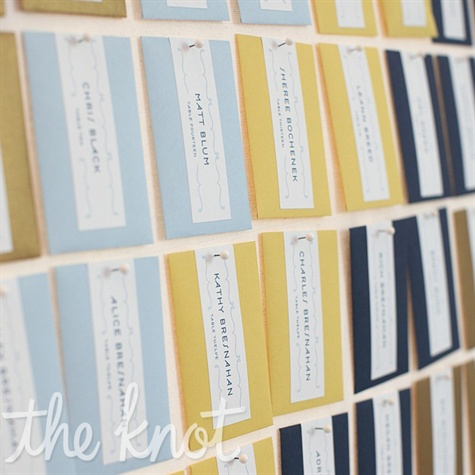 Blue and Yellow Escort Cards