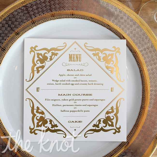 Amy's business partner, Amy Steil created these gold-foiled menu cards that sat on chargers. They picked the chargers because the pattern resembled a rope which was a perfect touch to their western affair.