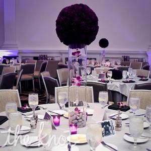 Purple Flower Pom Centerpieces