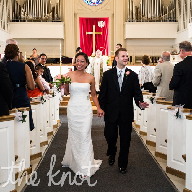 The couple exchanged vows at Mt. Olivet United Methodist Church -- they worked with the reverend to really personalize the ceremony. Lani's father walked her down the aisle and one of her friend's played piano.