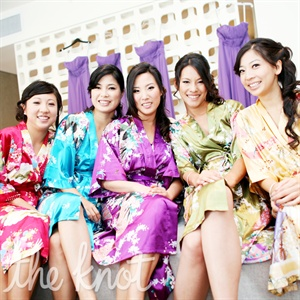 One of Jens bridesmaids gave everyone robes to wear the morning of the wedding.