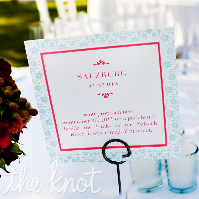 Meagan and Scott chose locations that were of importance to them to use as names for their tables instead of table numbers.