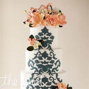 Damask Cake with Pink Flowers
