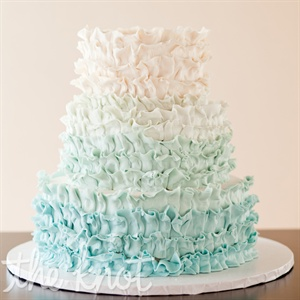 Ombre Blue Ruffled Cake