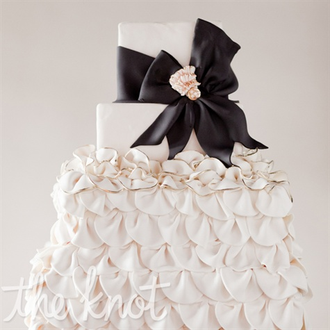 Black and White Ruffled Cake