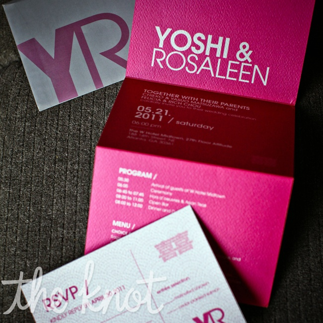 Yoshi and Rosaleen had their wedding stationary designed in Singapore. They wanted to incorporate their YR logo with the double happiness character and fan theme to represent the theme of the wedding.