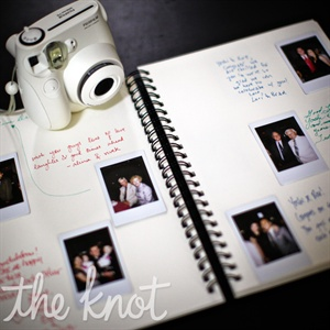 For their  guestbook, Rosaleen and Yoshi had their guests take photos of themselves and display them with a hand written note.