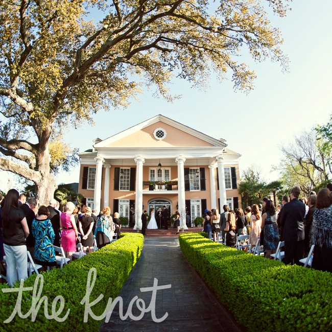 The ceremony took place at sunset on the front lawn of the plantation. The large oak tree provided all the décor they needed.