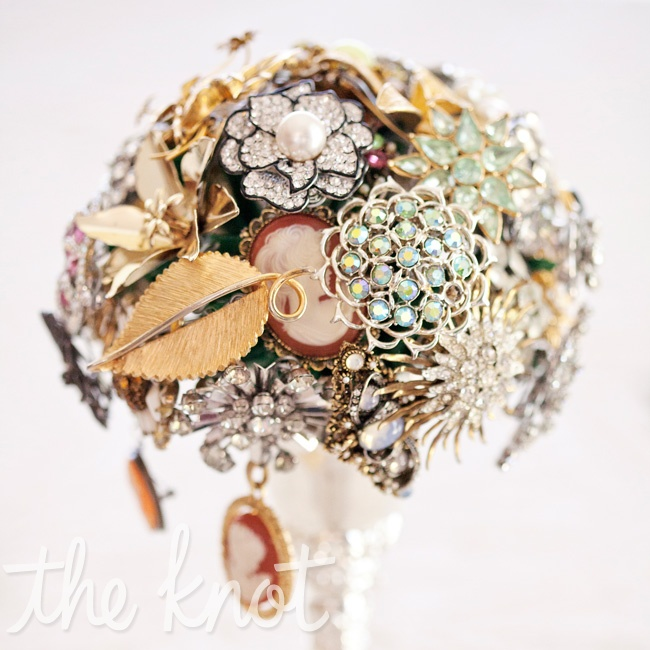 "Tarah collected vintage broaches from friends and family and wired them together with floral wire to create her unique bouquet. ""It took some time and patience to put this together, but it was definitely worth it and so full of meaning for me and the women in my life,"" Tarah says."