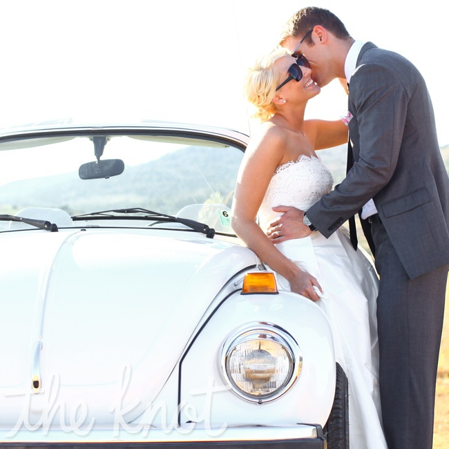 The couple made their grand escape in a 1970s Volkswagen Beetle that belongs to Lauren's family. The two drove the car up to the mountains after the wedding to take photos.