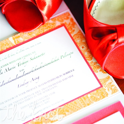 Orange Paisley Invitations
