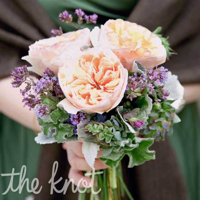 The bridesmaids carried smaller versions of Kate's bouquet, with garden roses, geranium leaves and flowering oregano.