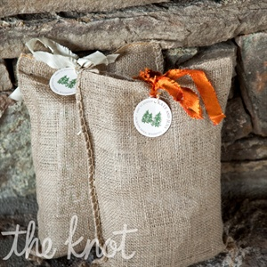 Kate and Jens filled burlap sacks with goodies like Swedish fish, water bottles and a map of Jackson for guests.