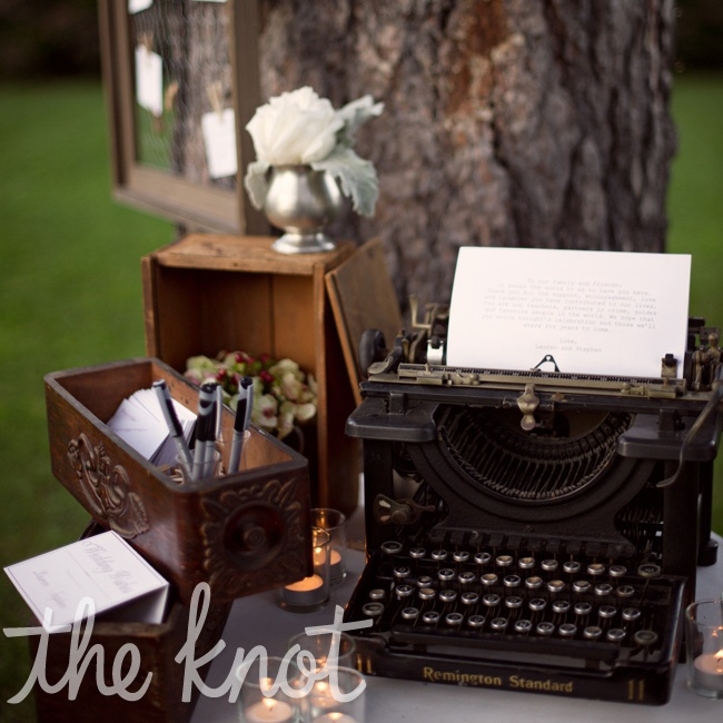 "A Remington typewriter was used at the wedding wish table that included a typed ""thank you letter"" to all of our guests."