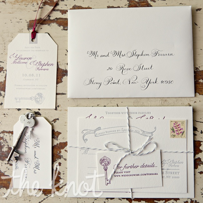Lauren and Stephen's graphic designer helped them create a custom antique key that incorporated their initials into the handle. This key became the focal point of the save-the-dates and many other printed pieces throughout the wedding.