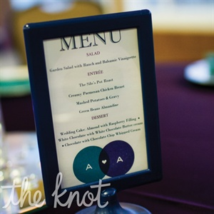 The reception menus doubled as table numbers.