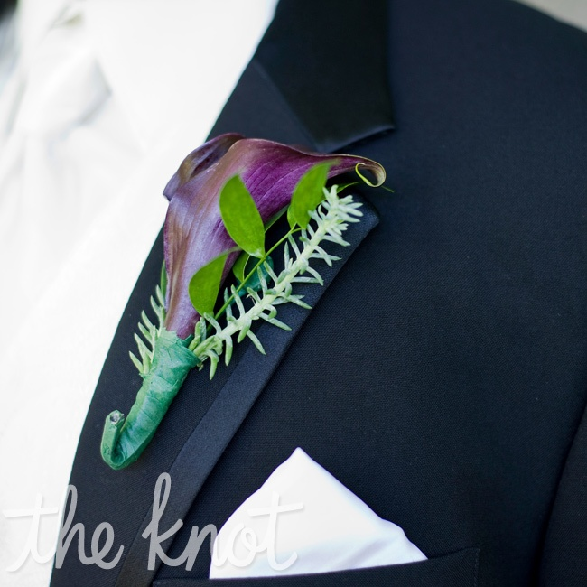 Anthony's boutonniere was a structured arrangement made up of a purple calla lily and accented with a succulent.
