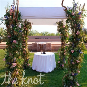 Lauren and Jay had their ceremony outside in front of a fire hearth and a fountain creating the perfect background for the chuppah.