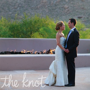 Lauren and Jay posed for sunset photos outside next to the fire hearth where the ceremony took place.