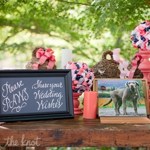 "The couple had their sign in table set up with a ""Winery Dog"" book they purchased a winery/art gallery.  They also included a picture of Ross' family dog, Tucker, because he wasn't able to fly out to California for the wedding."