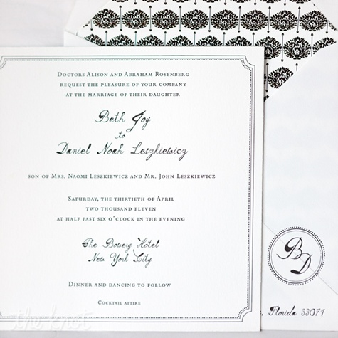 Black and White Vintage Invitations