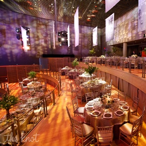 """Finding a unique space was key,"" says Crokos, who discovered Manhattan's Jazz at Lincoln Center. ""We knew it would be such an exciting change for guests; everyone is so used to going to weddings with the standard setup."" Plus, it tied in nicely with the couple's passion for live music."
