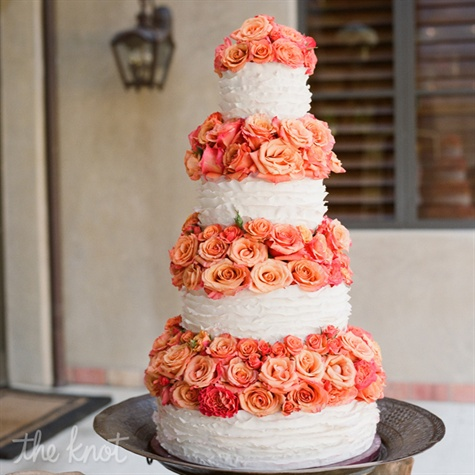 Ruffled Cake With Garden Roses