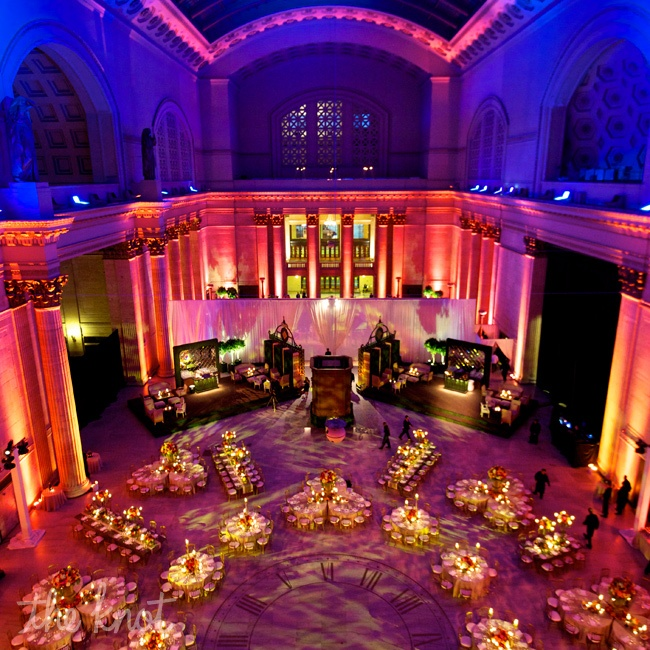 A unique lighting arc designed to unfold slowly turned the room from ambers to pinks and purples, and finally to a dark blue like the night sky as a moon dropped over the dance floor with a dramatic flourish. Lighting can have a profound impact on 