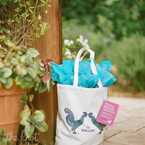 "The couple embraced their married name, Gallo, which means ""rooster"" in Italian, as inspiration by playing up rooster artwork, which adorned welcome bags and stationery."
