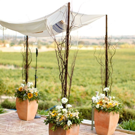 Chuppah Decorated with Twigs and Flowers