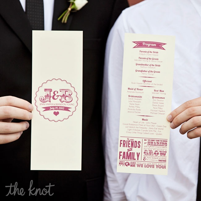 Jenni and Brandon chose long, thin slate programs on ivory cardstock with plum print. One side featured all of the ceremony information, while the other featured a monogram that the designer created for the couple. Jenni and Brandon also included a message to all their friends and family to thank them for their love and support of their relationshi ...