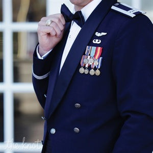 To honor his post in the Air Force, Jeff donned traditional military mess dress.
