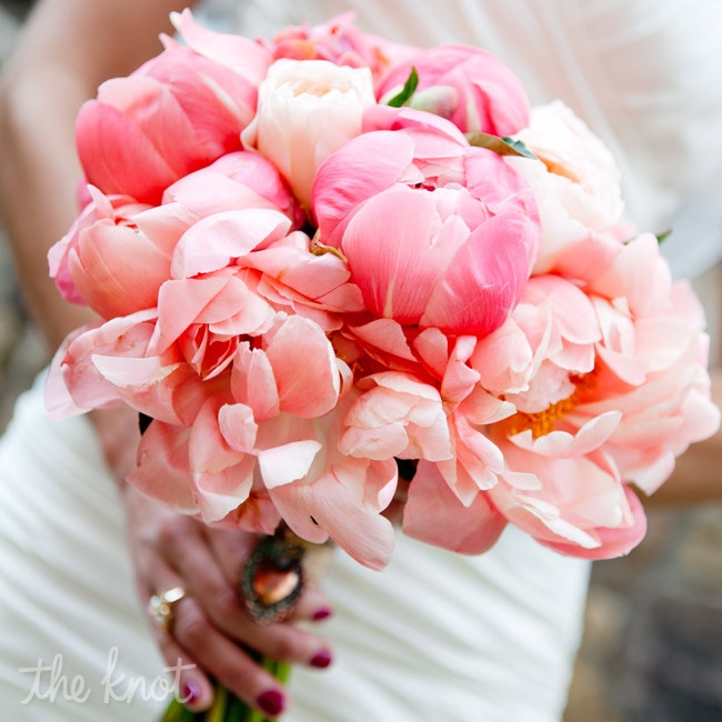 Kate carried fluffy garden roses and Charm peonies in shades of pink and coral.