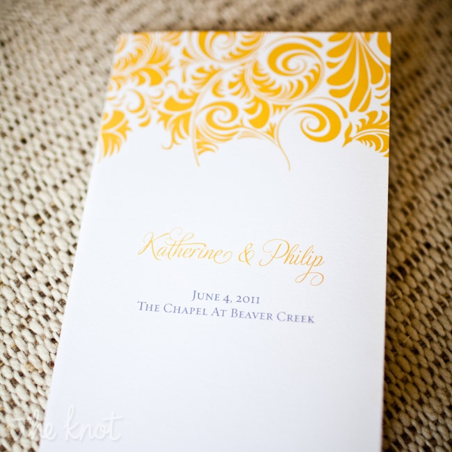 An abstract marigold leaf print dressed up the simple ceremony programs.