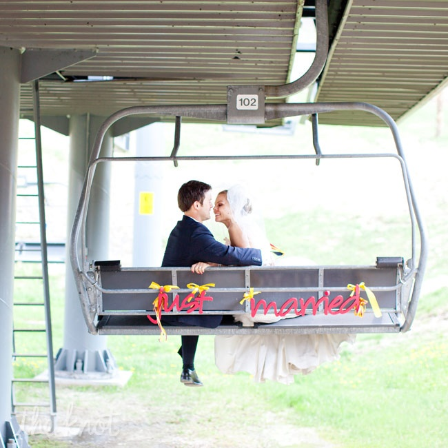 Taking full advantage of their mountain locale, the couple made their ceremony getaway on a ski lift.