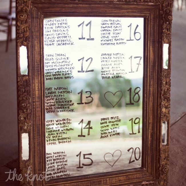 The couple nixed the idea of escort cards and wrote guests' seat assignments on mirrors set in vintage frames.