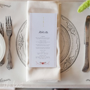 Fine-dining-inspired, illustrated paper placemats put a cheeky spin on the traditional table.