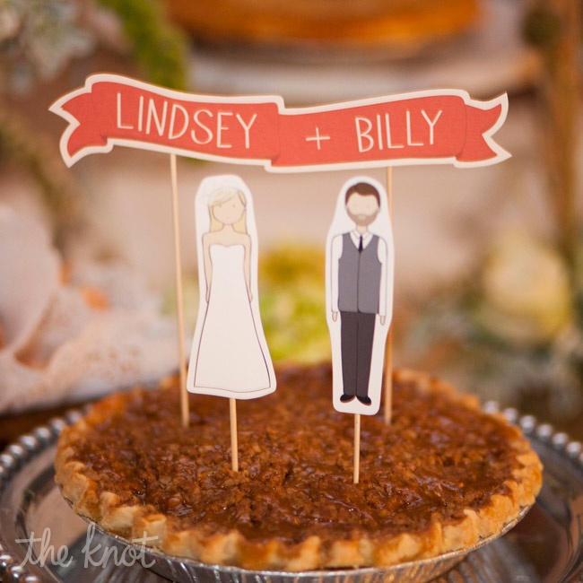 Paper-doll cutouts of the couple topped one of the fruit pies, which they served in place of cake.
