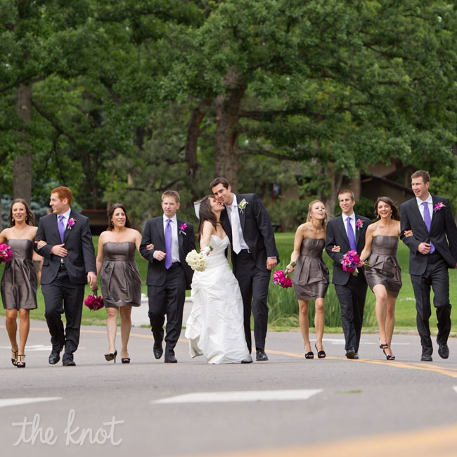 Purple accents in the girls' bouquets were meant to pick up the deep violet of the guys' patterned ties.
